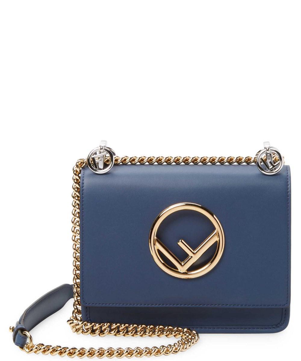 034d23925878 Lyst - Fendi Small Kan I F Logo Leather Crossbody in Blue