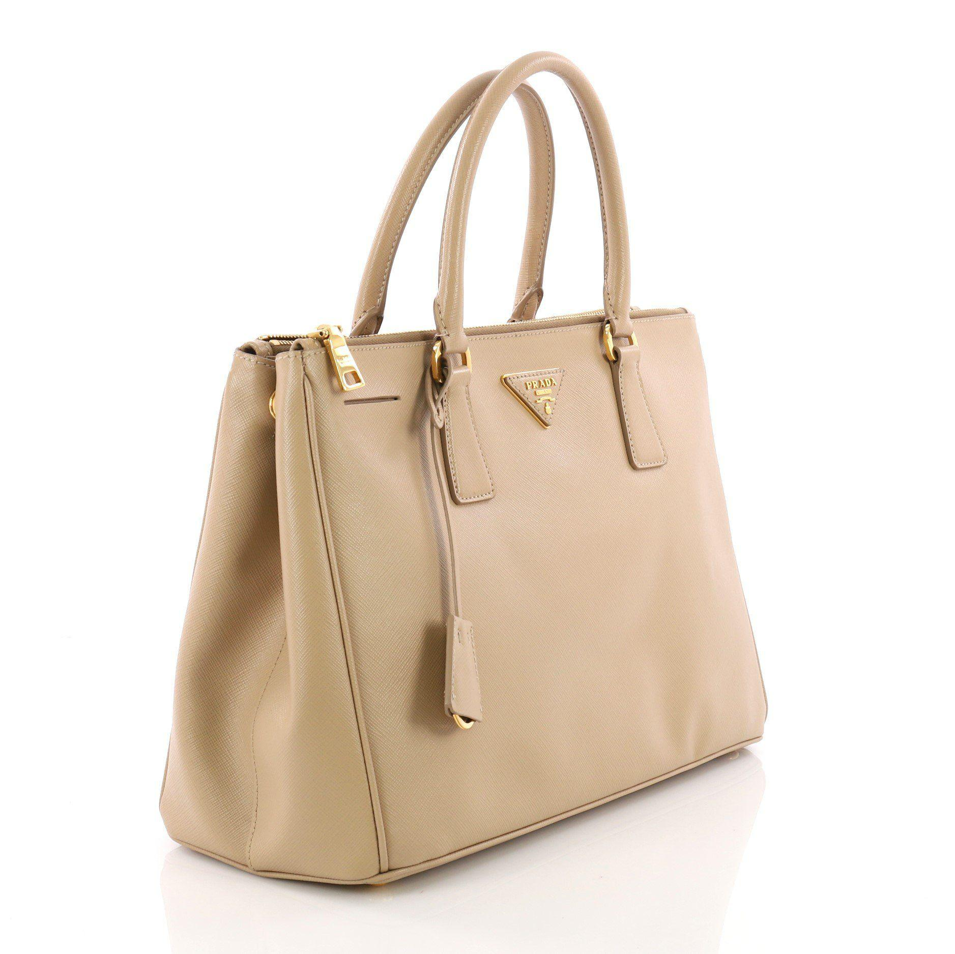 857b7f425d2f68 Lyst - Prada Pre Owned Double Zip Lux Tote Saffiano Leather Medium ...
