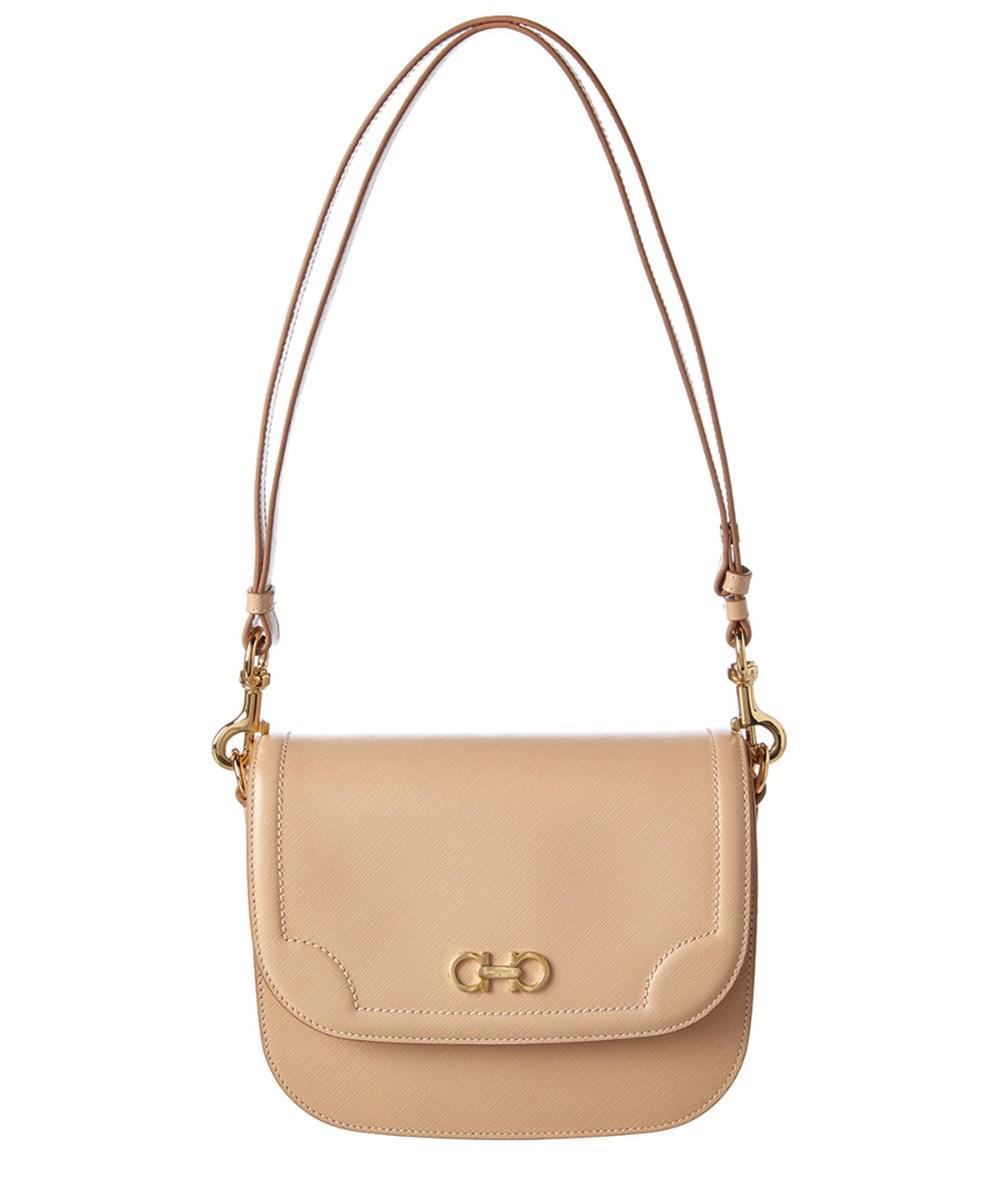 a81e8043349c Lyst - Ferragamo Greta Medium Double Gancio Leather Shoulder Bag in ...