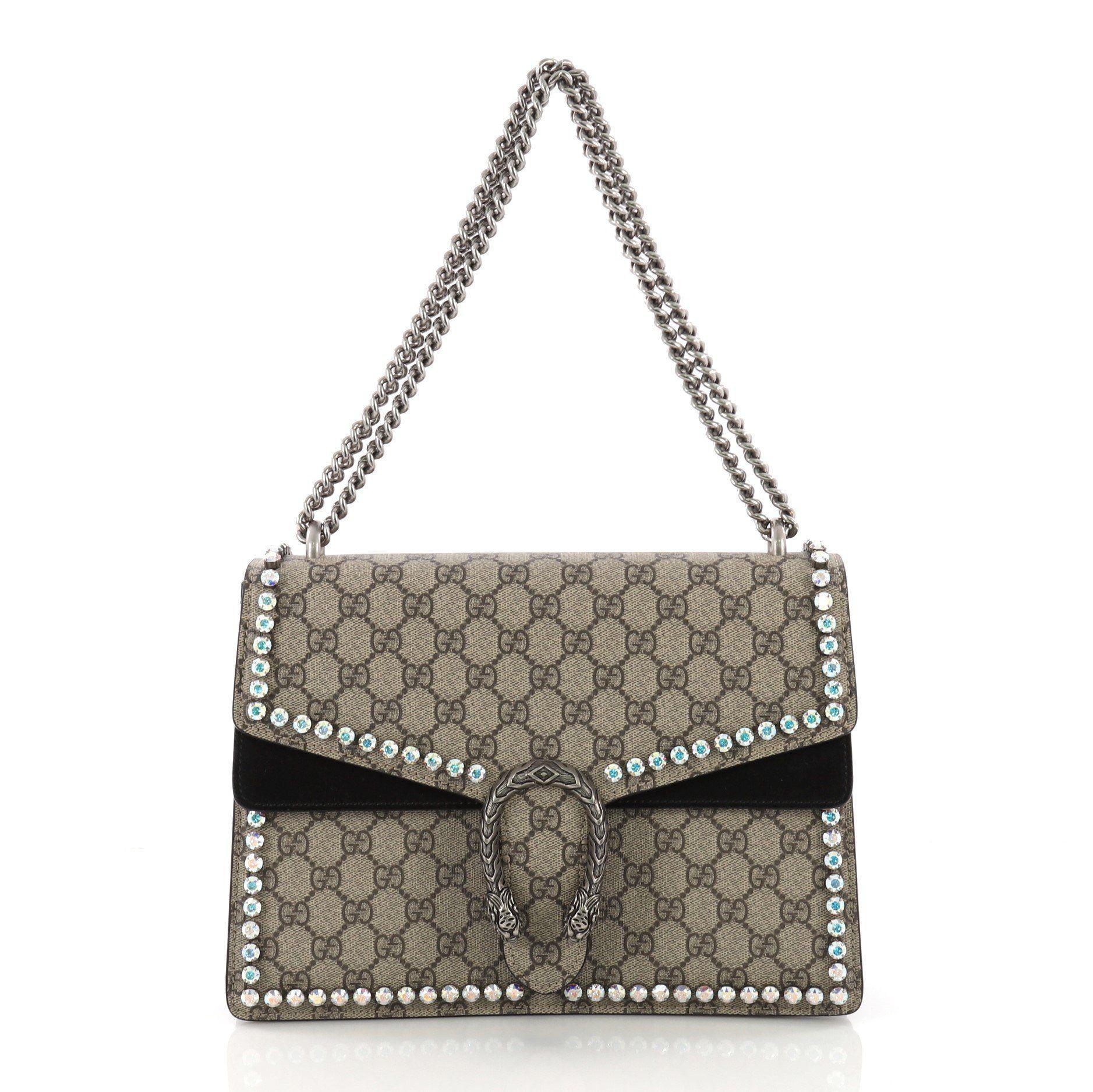 454afa9c3be3 Gucci. Women's Pre Owned Dionysus Handbag Crystal Embellished GG Coated  Canvas Medium