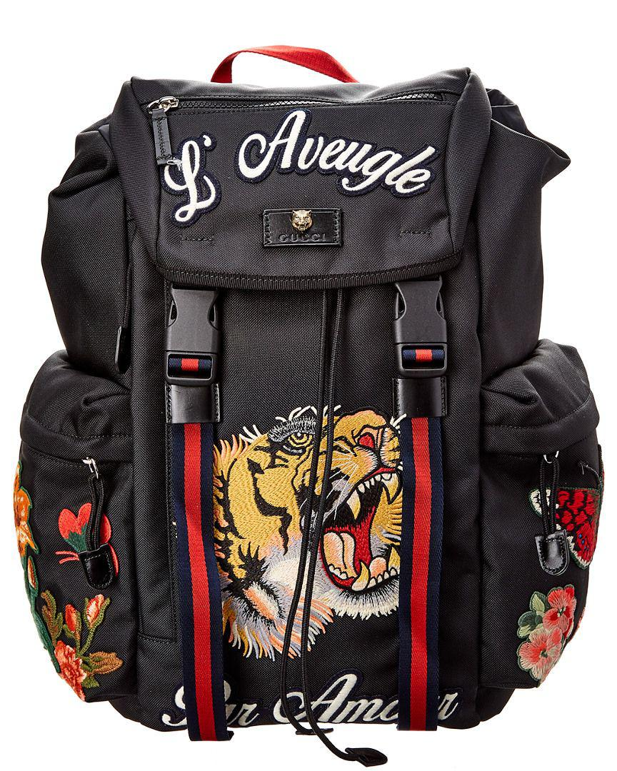 Gucci Embroidered Backpack in Black for Men - Save ... f0a1ea5a8aeeb