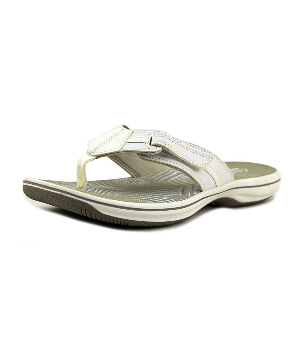 8a97923db5b1 Lyst - Clarks Brinkley Bree Women Open Toe Synthetic White Thong ...