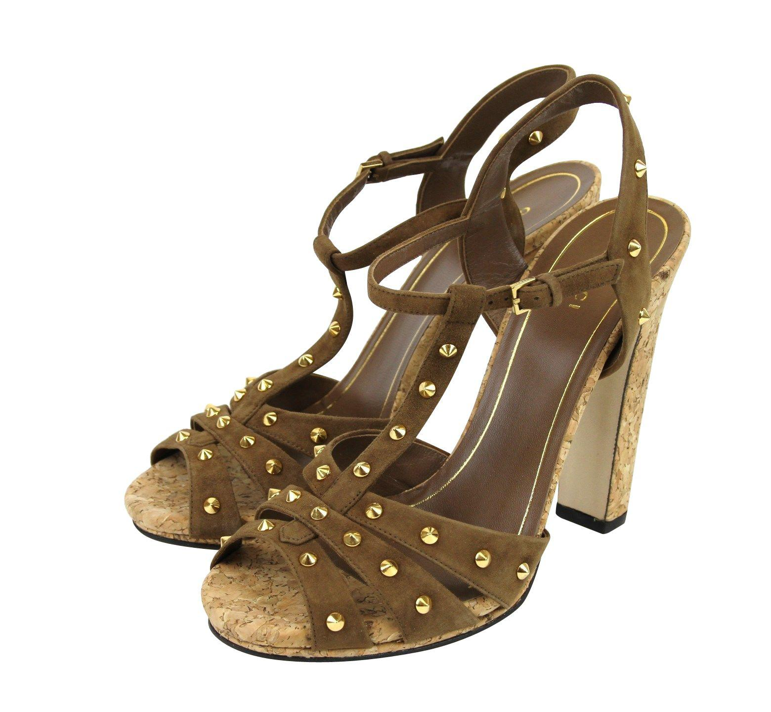 06146b732ae Gucci. Women s Jacquelyne Brown Gold Studs Suede Platform Sandal ...