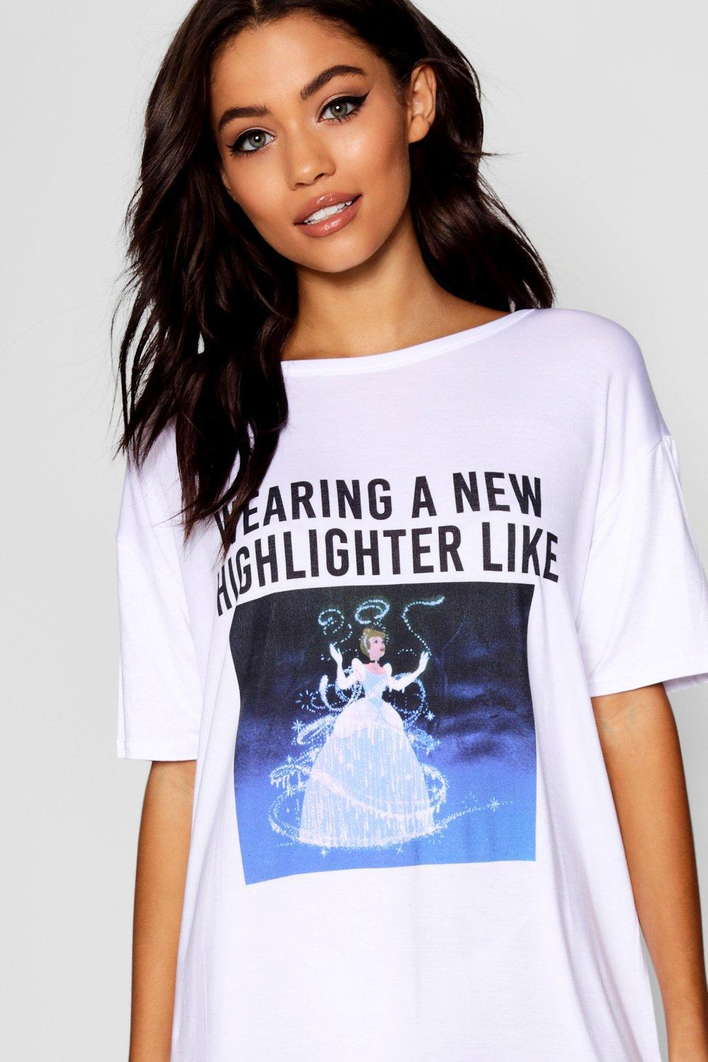 08a126124d Lyst - Boohoo Disney Cinderella Sleep Tee in White