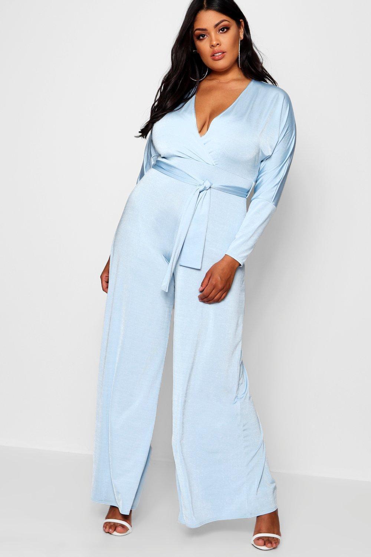 073b6486a882 Boohoo Plus Lois Slinky Wrap Tie Jumpsuit in Blue - Lyst