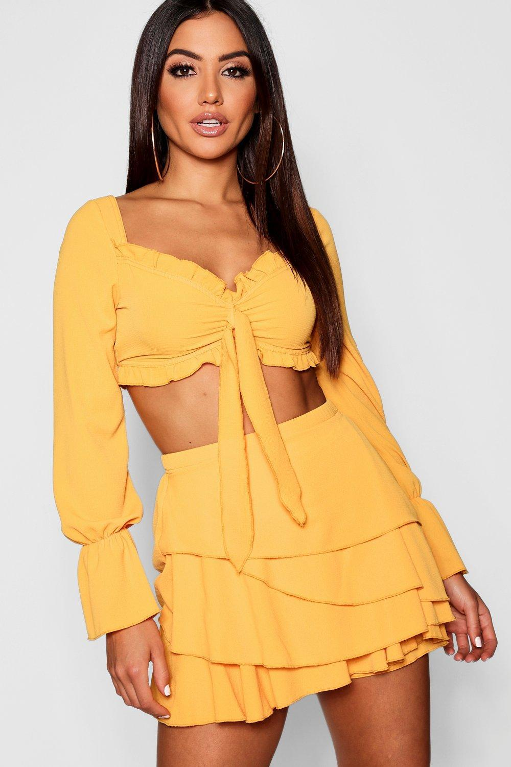 e3874941463f5 Lyst - Boohoo Long Sleeve Tie Front + Ruffle Detail Short Co-ord