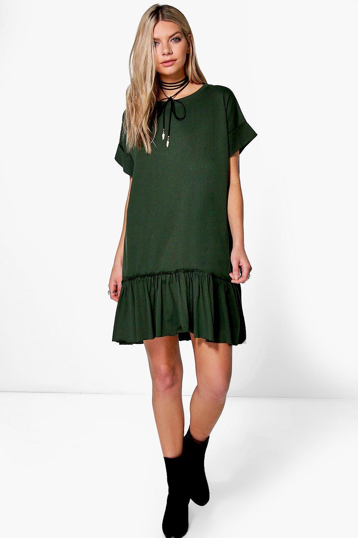 1dddf9d98b5f0 Boohoo Elyse Ruffle Hem T-shirt Dress in Green - Lyst