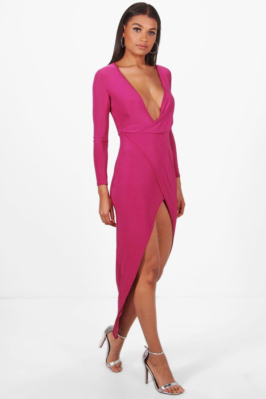 290b32e0257fb Lyst - Boohoo Hedda Deep Plunge Drape Slinky Maxi Dress in Purple