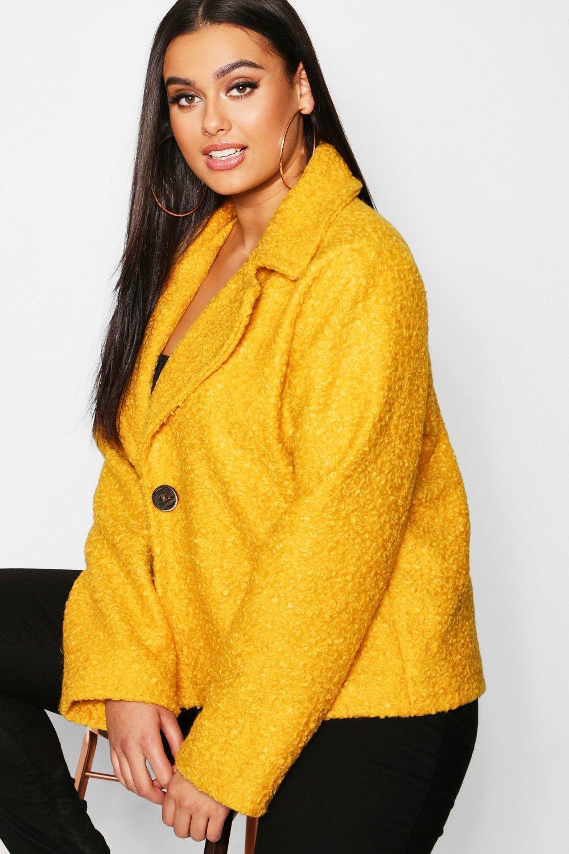 f1ed4a4e8ac Boohoo - Yellow Plus Short Button Faux Fur Teddy Coat - Lyst. View  fullscreen