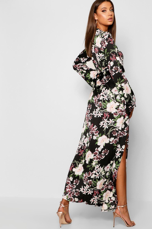 8ecc7ef9f1 ... Tall Floral Belted Wrap Kimono Maxi Dress - Lyst. View fullscreen