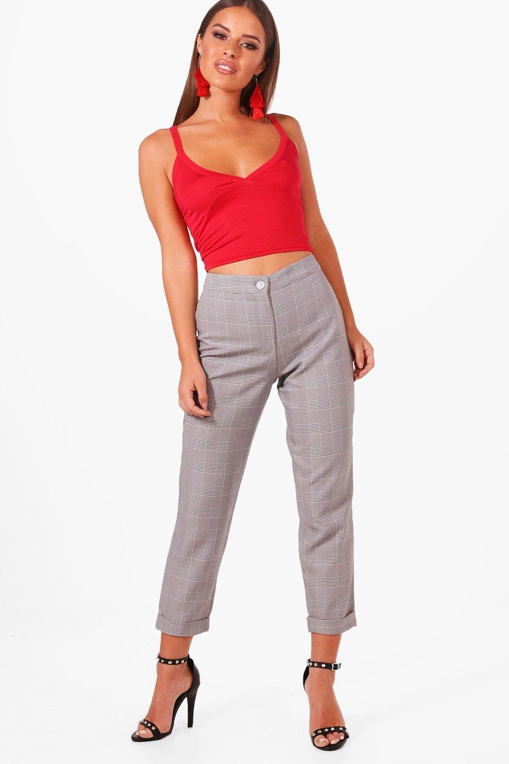 5d8e58e5241ca Lyst - Boohoo Petite Dogtooth Check Tapered Trouser