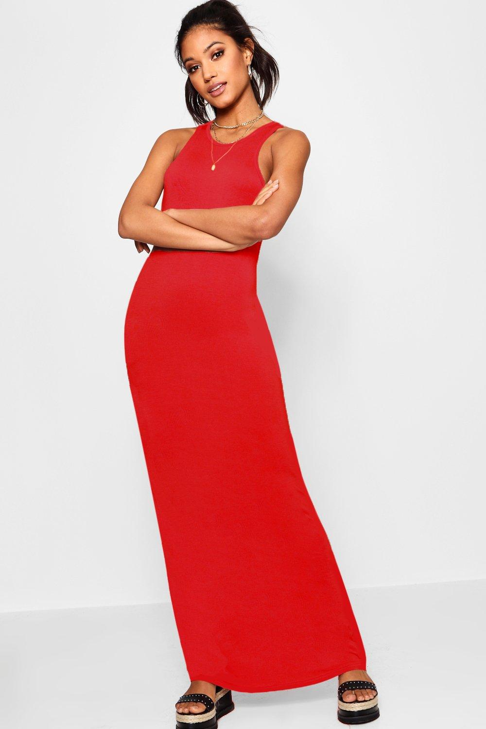 d66826fd3fbe Lyst - Boohoo Basic Racer Front Maxi Dress in Red