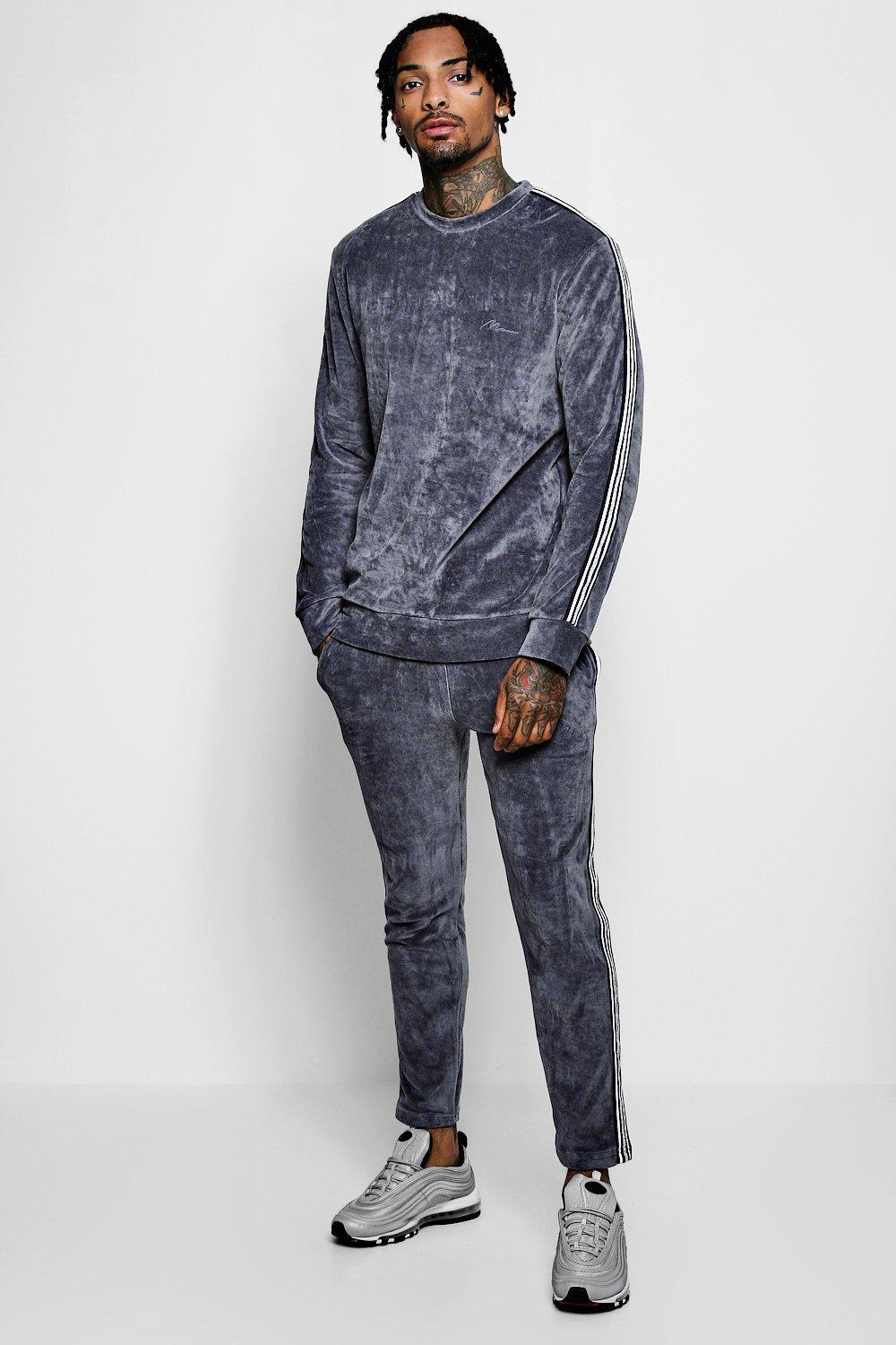 7d20cca2cfbeb Lyst - Boohoo Man Signature Velour Sweater Sports Tape Tracksuit for Men
