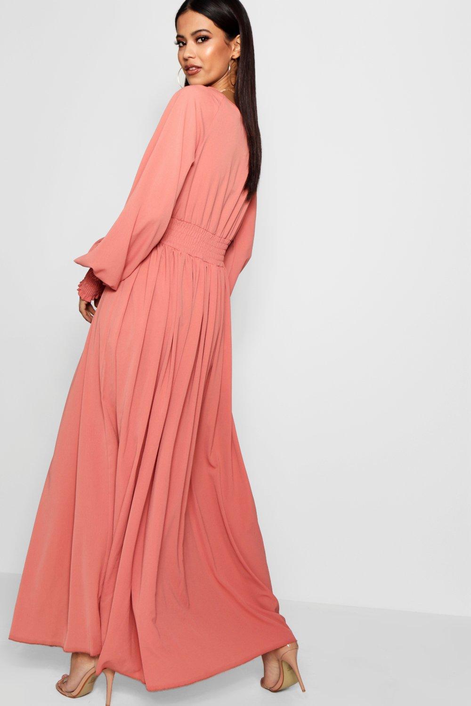ec3dd9e8bad2 Boohoo Shirred Waist & Cuff Woven Maxi Dress in Pink - Save 58% - Lyst