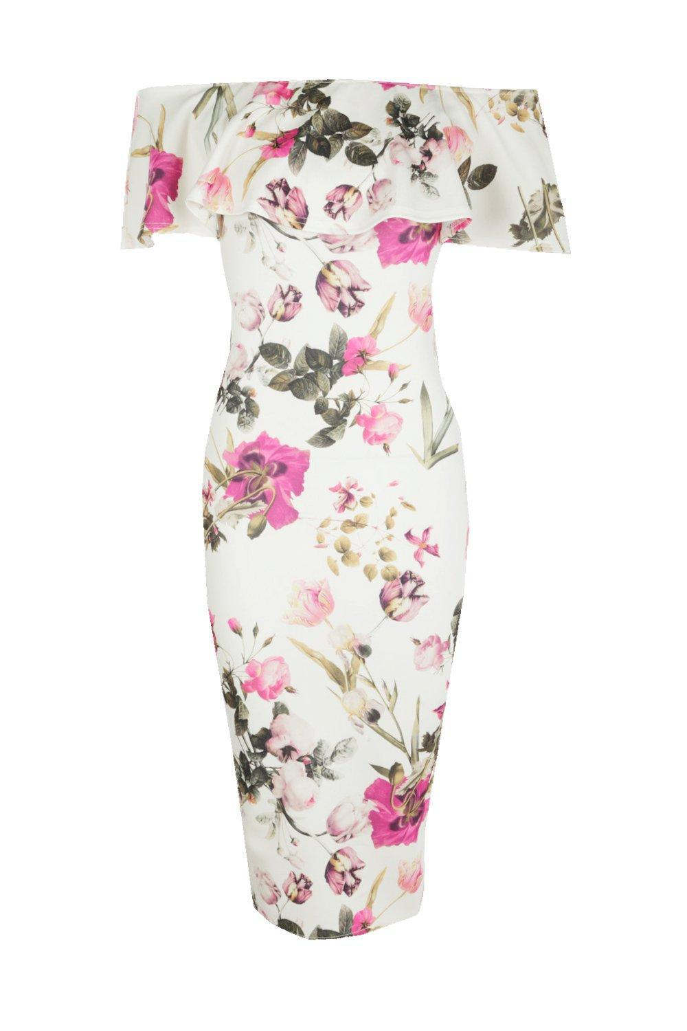 ef3706deb3eb Boohoo Lucy Floral Double Frill Off The Shoulder Midi Dress - Lyst