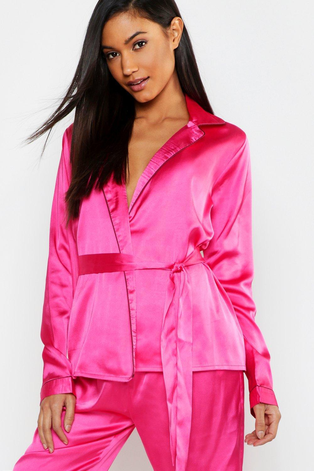 ee15dc40a79 Lyst - Boohoo Wrap Front Belted Pj Set in Pink
