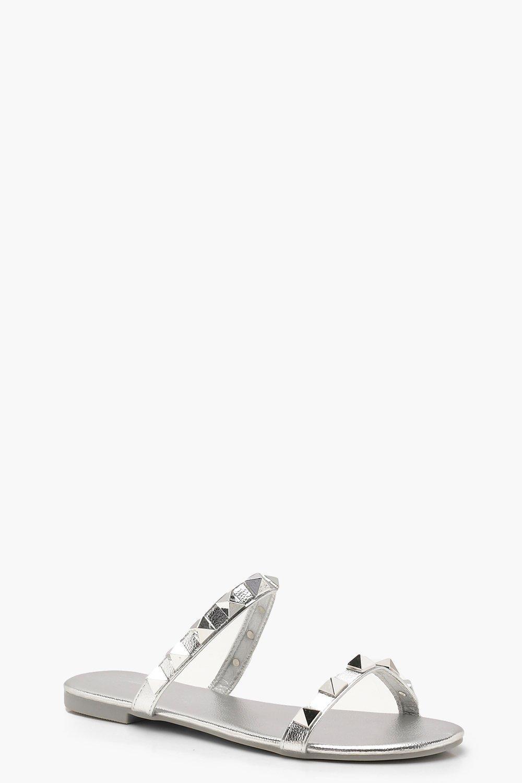 6e8e4ce72 Boohoo Studded Double Band Sliders in Metallic - Lyst