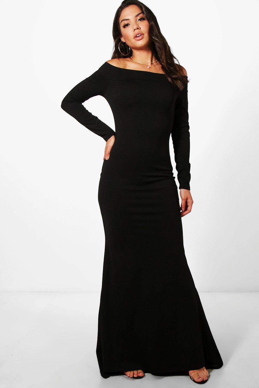 b0a5476adc5 Boohoo Fliss Off Shoulder Long Sleeve Maxi Dress in Black - Lyst