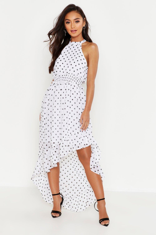 89ab208d418d7 Boohoo Womens Petite Polka Dot Plunge Maxi Dress Women's Clothing