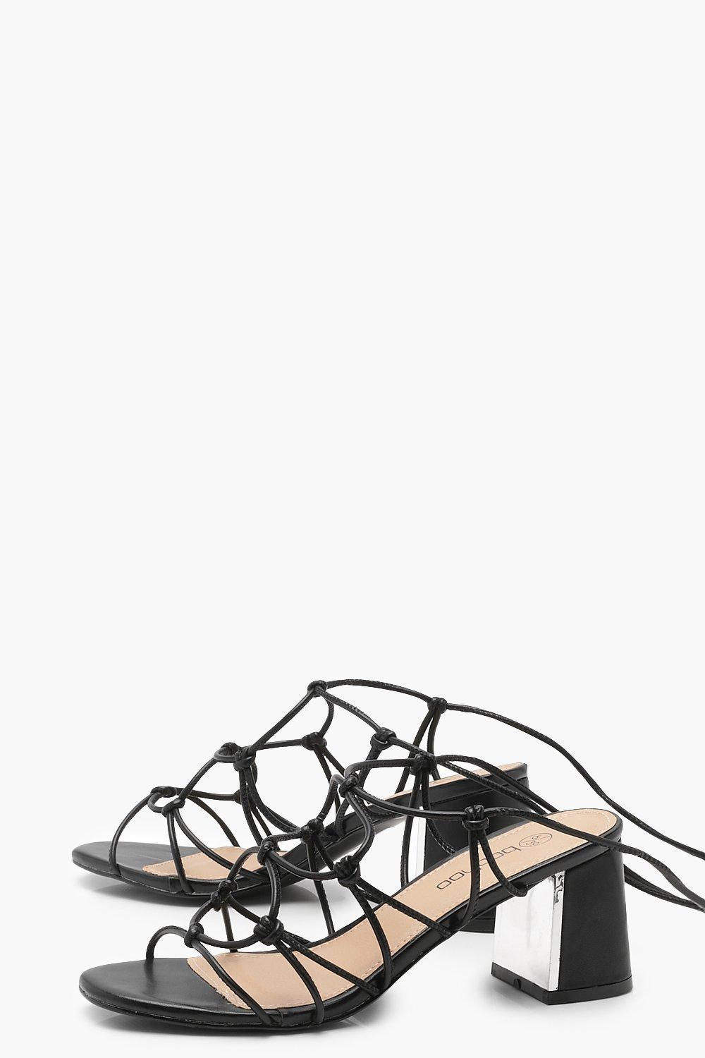 c5368ca0da9 Lyst - Boohoo Extra Wide Fit Cage Tie Up Gladiator Sandals in Black