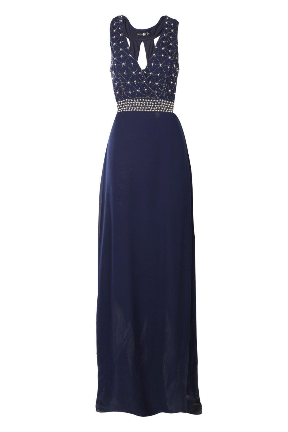 4f1145d4cba5 Boohoo Boutique Cat Pearl Embellished Maxi Dress in Blue - Lyst