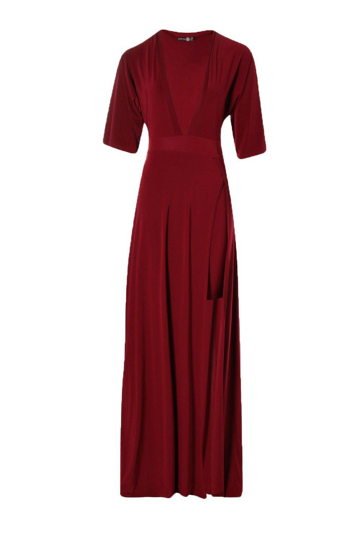 07d0c5776873 Boohoo - Natural Slinky Plunge Kimono Sleeve Maxi Dress - Lyst. View  fullscreen