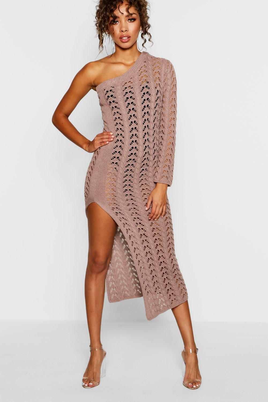 f8a3647ba09a Boohoo One Shoulder Crochet Knit Dress in Brown - Lyst