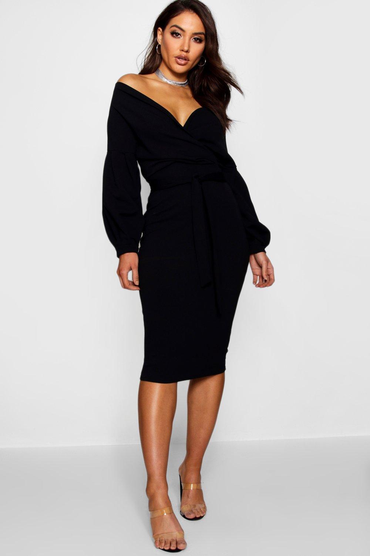 87bda6abfb2d Boohoo Off The Shoulder Wrap Midi Dress in Black - Lyst