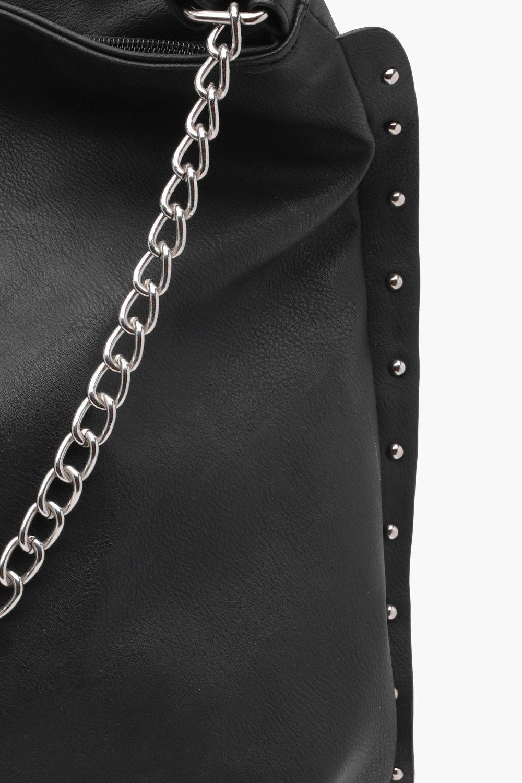 87adce66428 Lyst - Boohoo Joan Stud And Chain Hobo Day Bag in Black