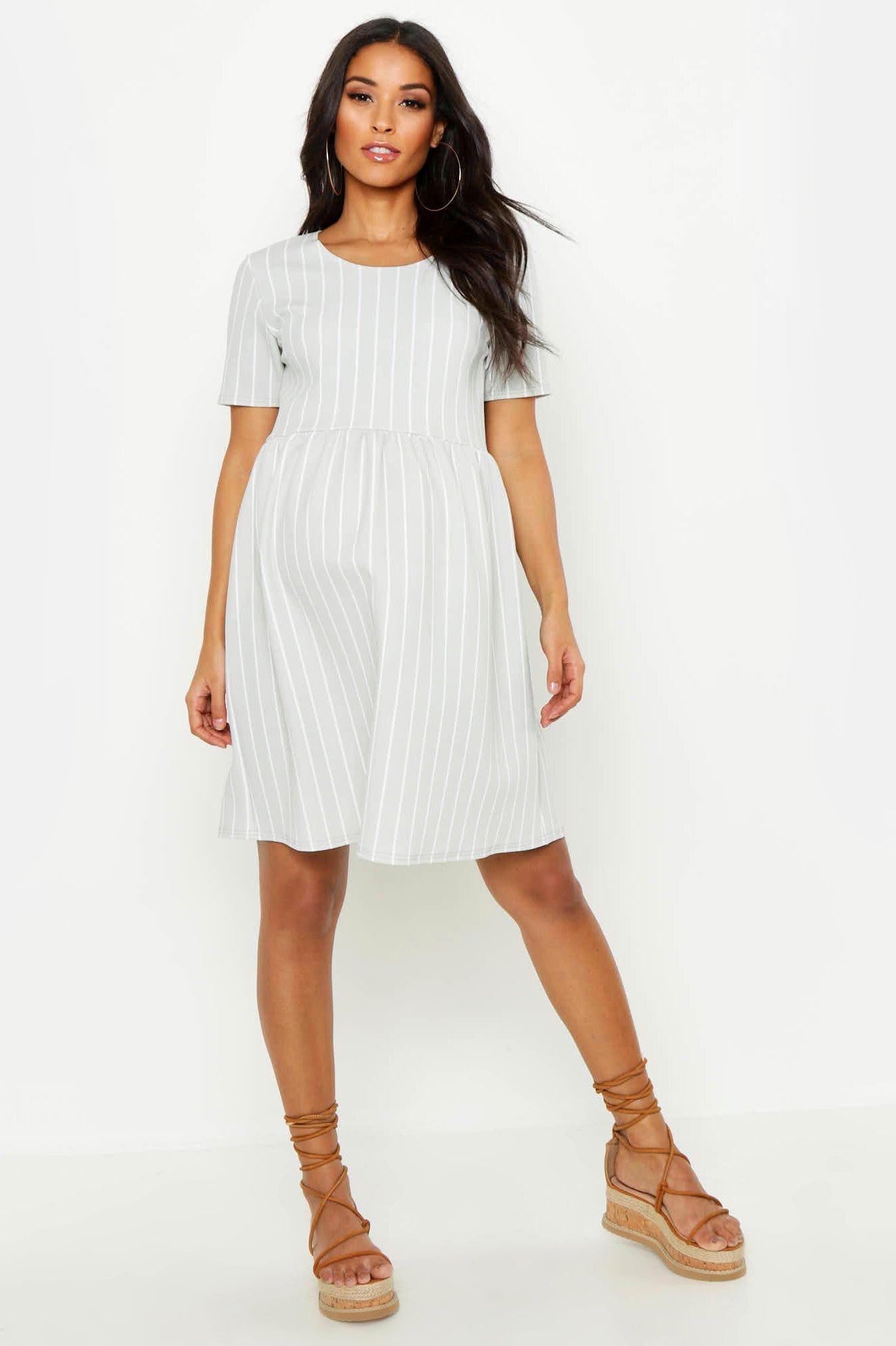9d6379594db3 Lyst - Boohoo Maternity Stripe Smock Dress in Gray