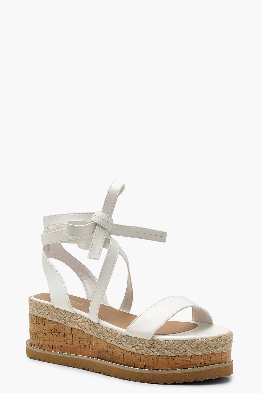 c8efcf420c0 Lyst - Boohoo Flatform Espadrille Tie Up Sandals in White