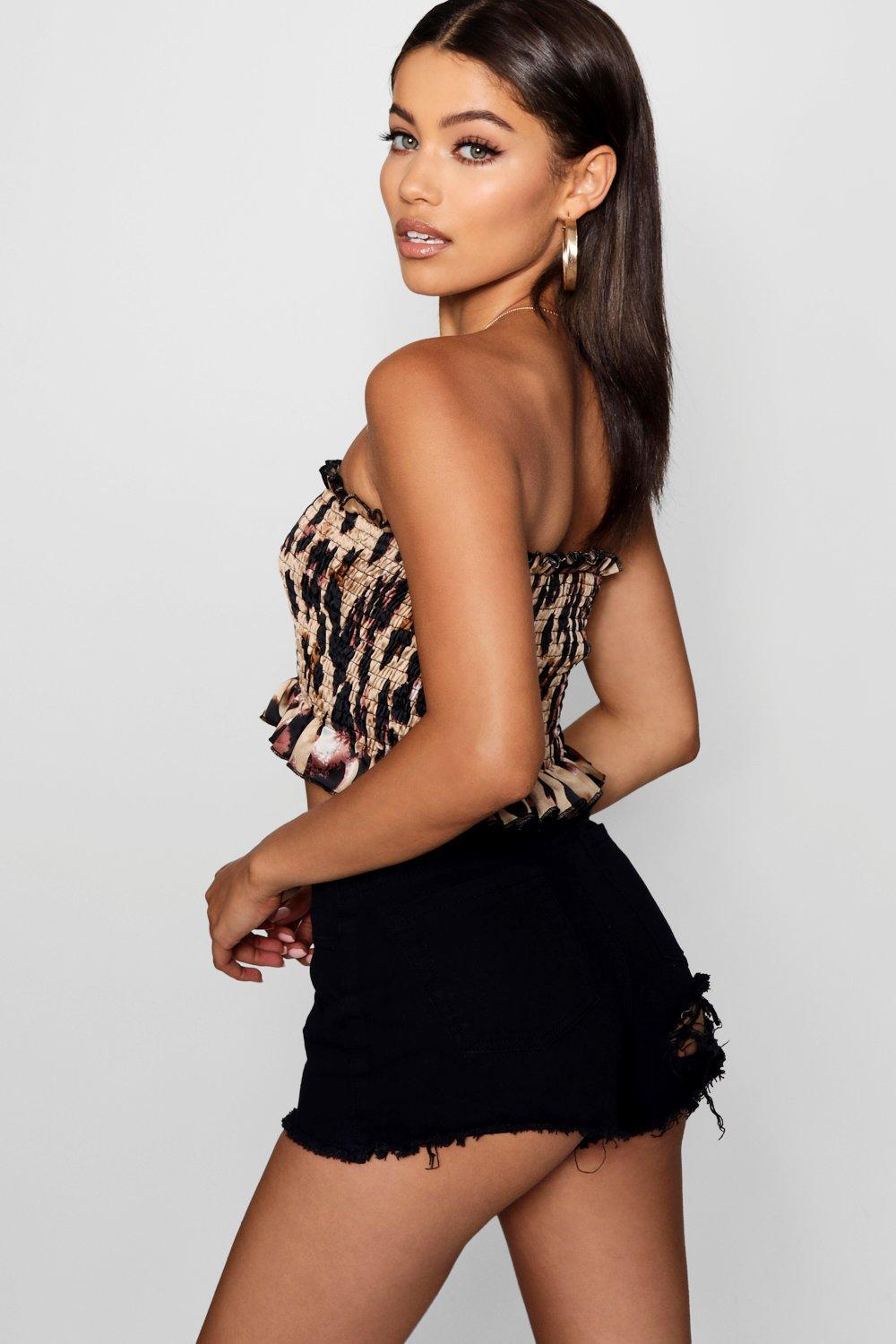Boohoo Leopard Shirred Bandeau Prices Online Manchester Great Sale Online Buy Cheap 2018 New wNsafNqtVW