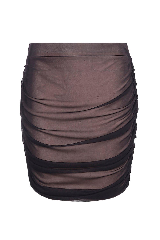 8a0f730f6 Boohoo Valentina Rouched Side Mesh Mini Skirt in Black - Lyst