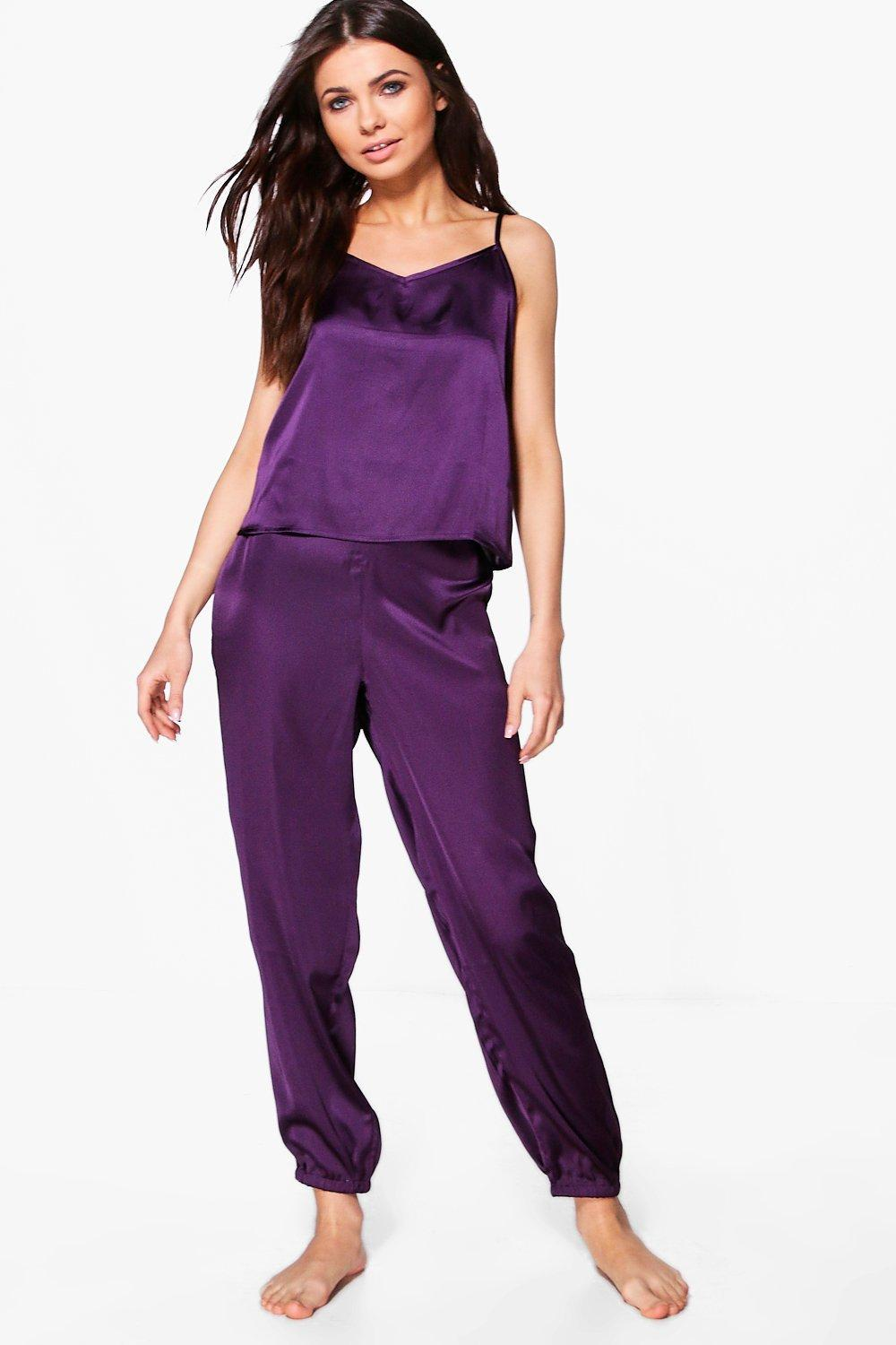 c095651559 Lyst - Boohoo Alice Satin Cami Pj Trouser Set in Purple