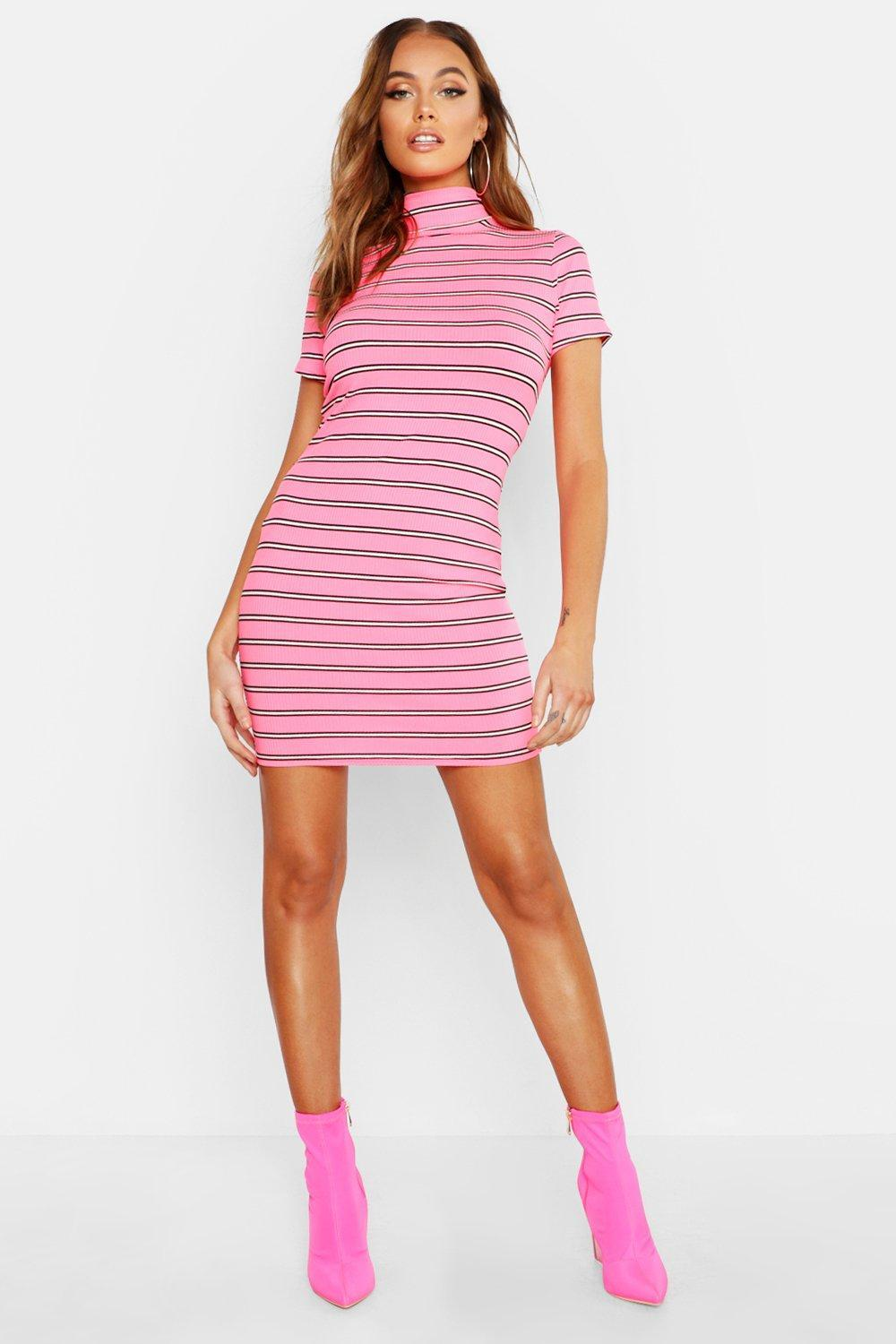 Boohoo ribbed bodycon dress with high neck in pink