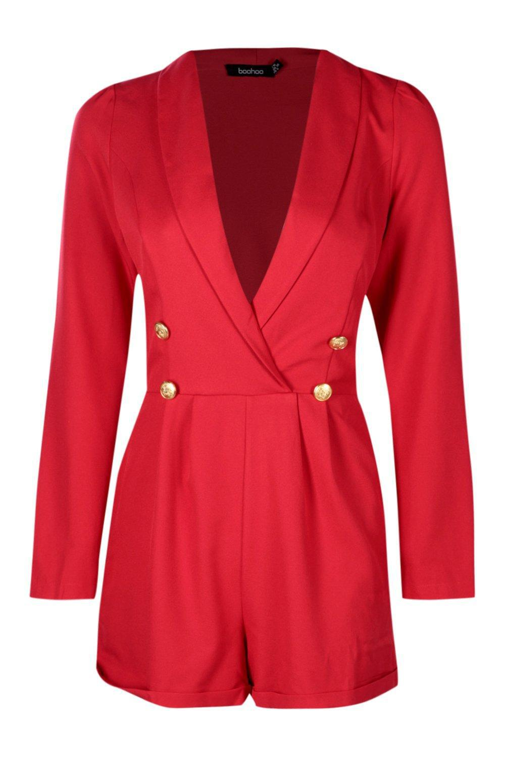 5903ab4f76a3 Boohoo Military Button Tuxedo Romper in Red - Lyst