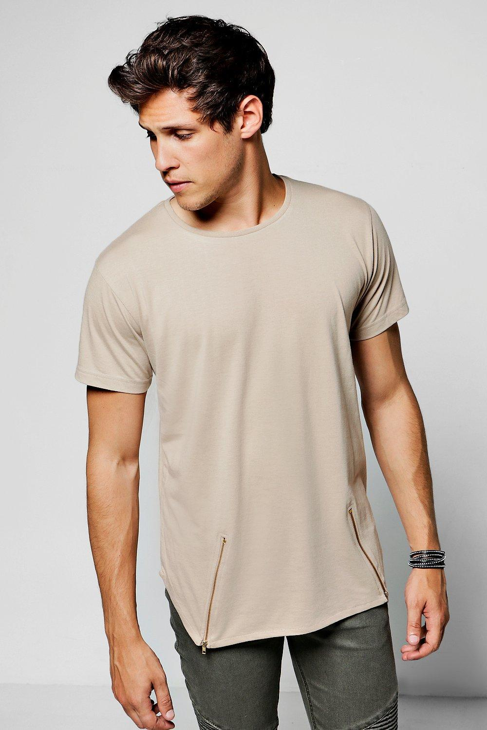 e50fb9a5 Lyst - Boohoo Crew Neck T-shirt With Angle Zips in Natural for Men