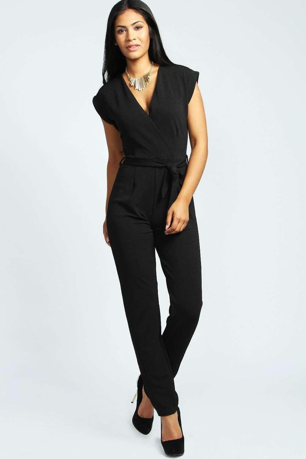 f7a2dd631e88 Boohoo Petite Wrap Over Jumpsuit in Black - Lyst