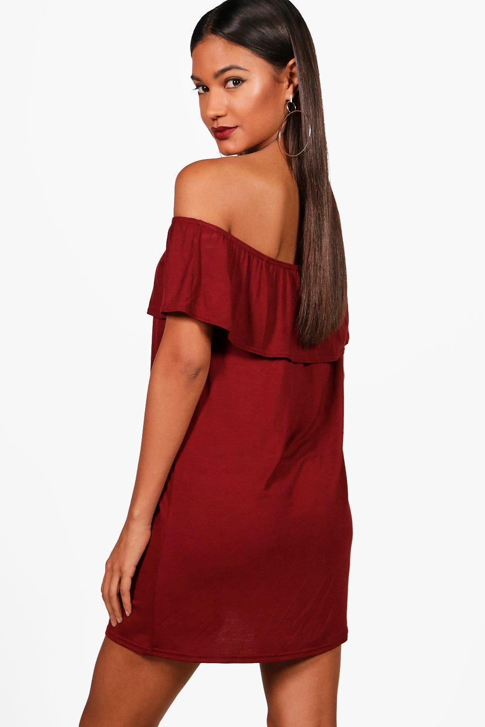 26a1b6660aa3 Boohoo - Red Off The Shoulder Jersey Swing Dress - Lyst. View fullscreen