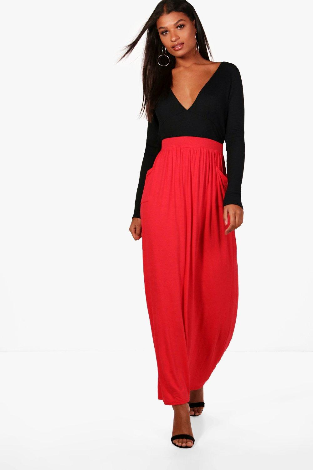 b6d539d6736 Lyst - Boohoo Lizbeth Pocket Front Jersey Maxi Skirt in Red