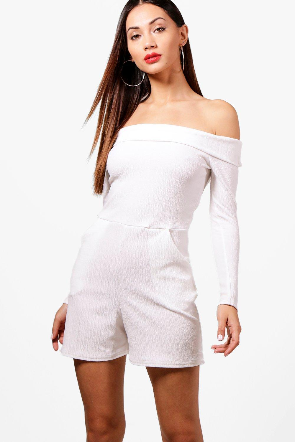 5e5e8c8664f Lyst - Boohoo Petite Tanya Long Sleeve Off The Shoulder Playsuit in ...