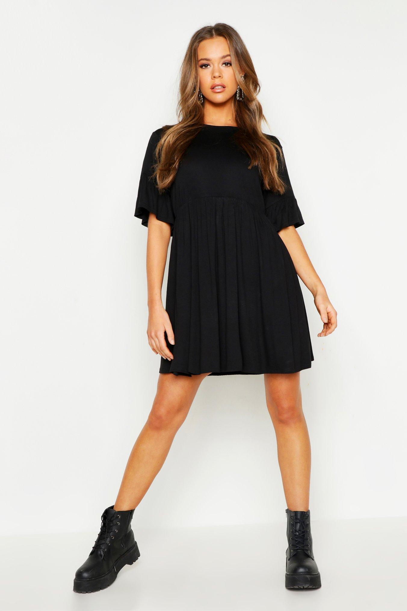 3b475ec37b Lyst - Boohoo Frill Sleeve Smock Dress