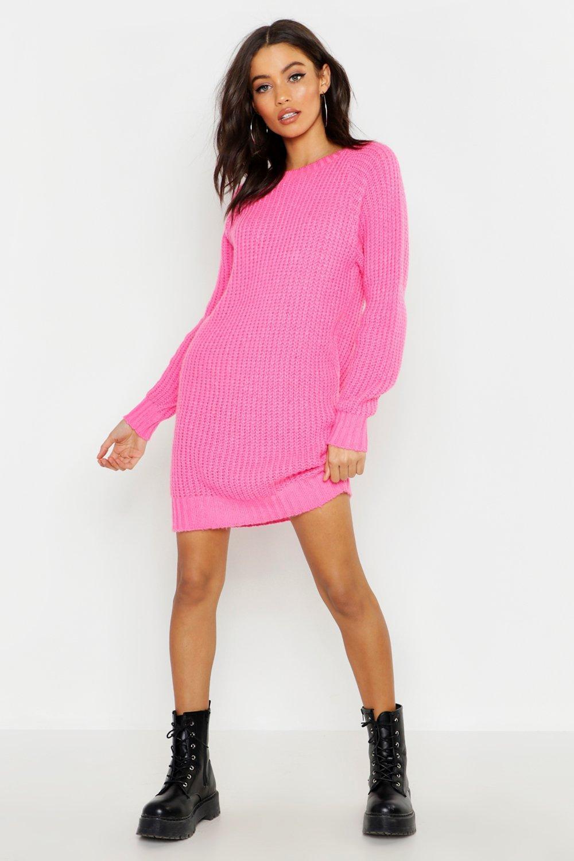 a716ff611be Lyst - Boohoo Soft Knit Neon Jumper Dress in Pink