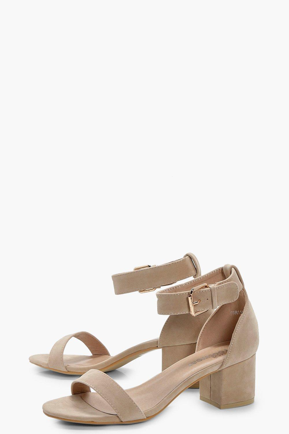 f998888623c4 Lyst - Boohoo Ankle Band Low Block Heel 2 Parts in Natural