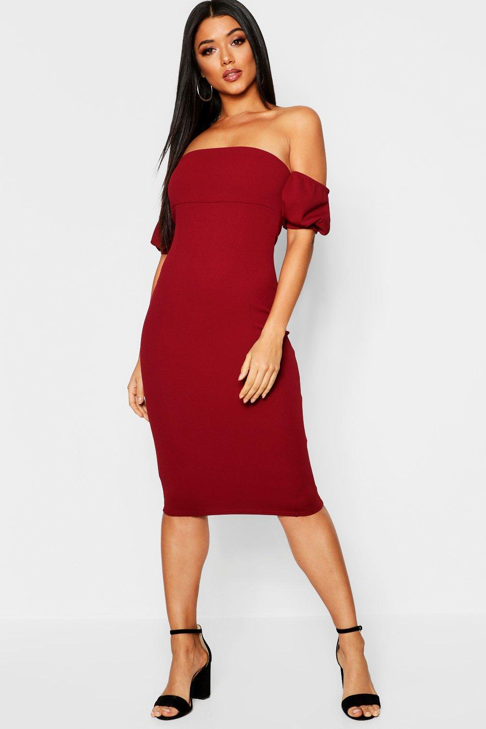 a45819e0df Lyst - Boohoo Off The Shoulder Puff Sleeve Midi Dress in Red