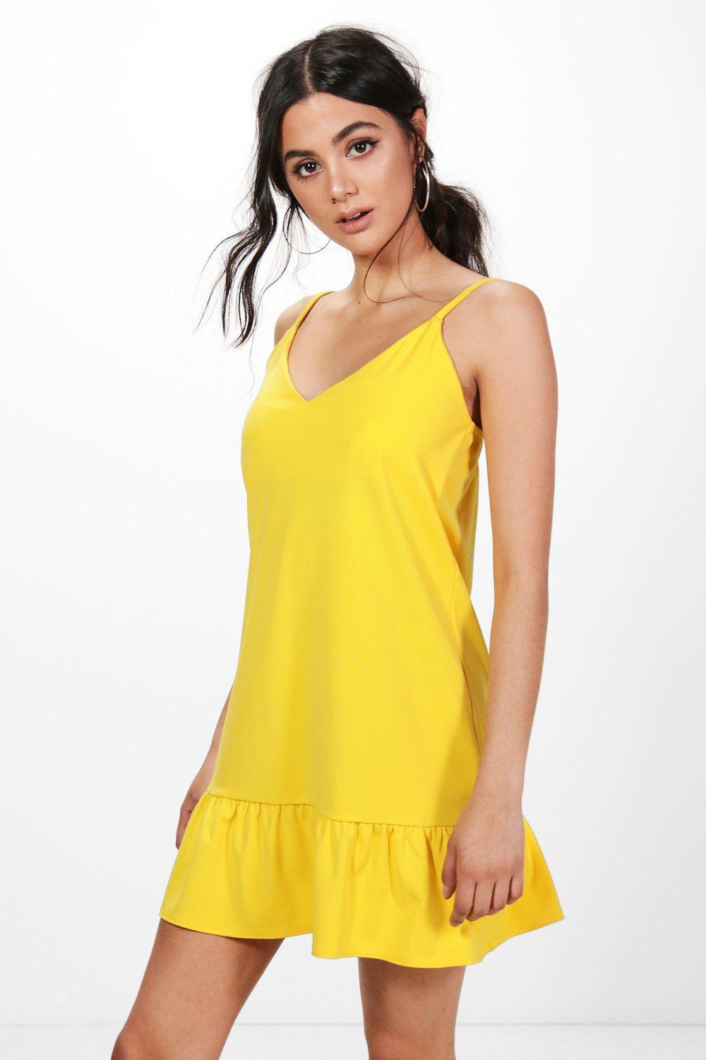 Whole World Shipping Boohoo Strappy Frill Hem Shift Dress Low Shipping Cheap Price x53iyCW