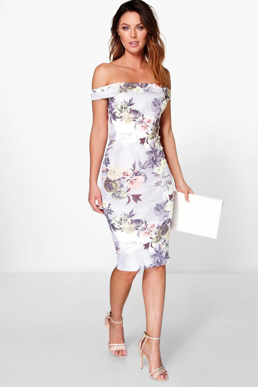 649a3a93da0a Boohoo - Multicolor Off The Shoulder Floral Midi Dress - Lyst. View  fullscreen