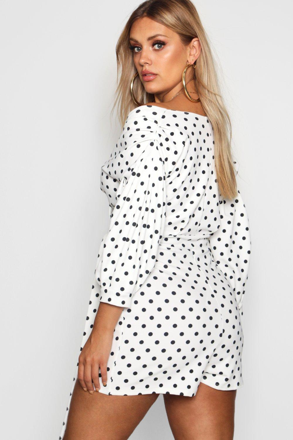 6a542896742 Boohoo - White Plus Off The Shoulder Playsuit - Lyst. View fullscreen