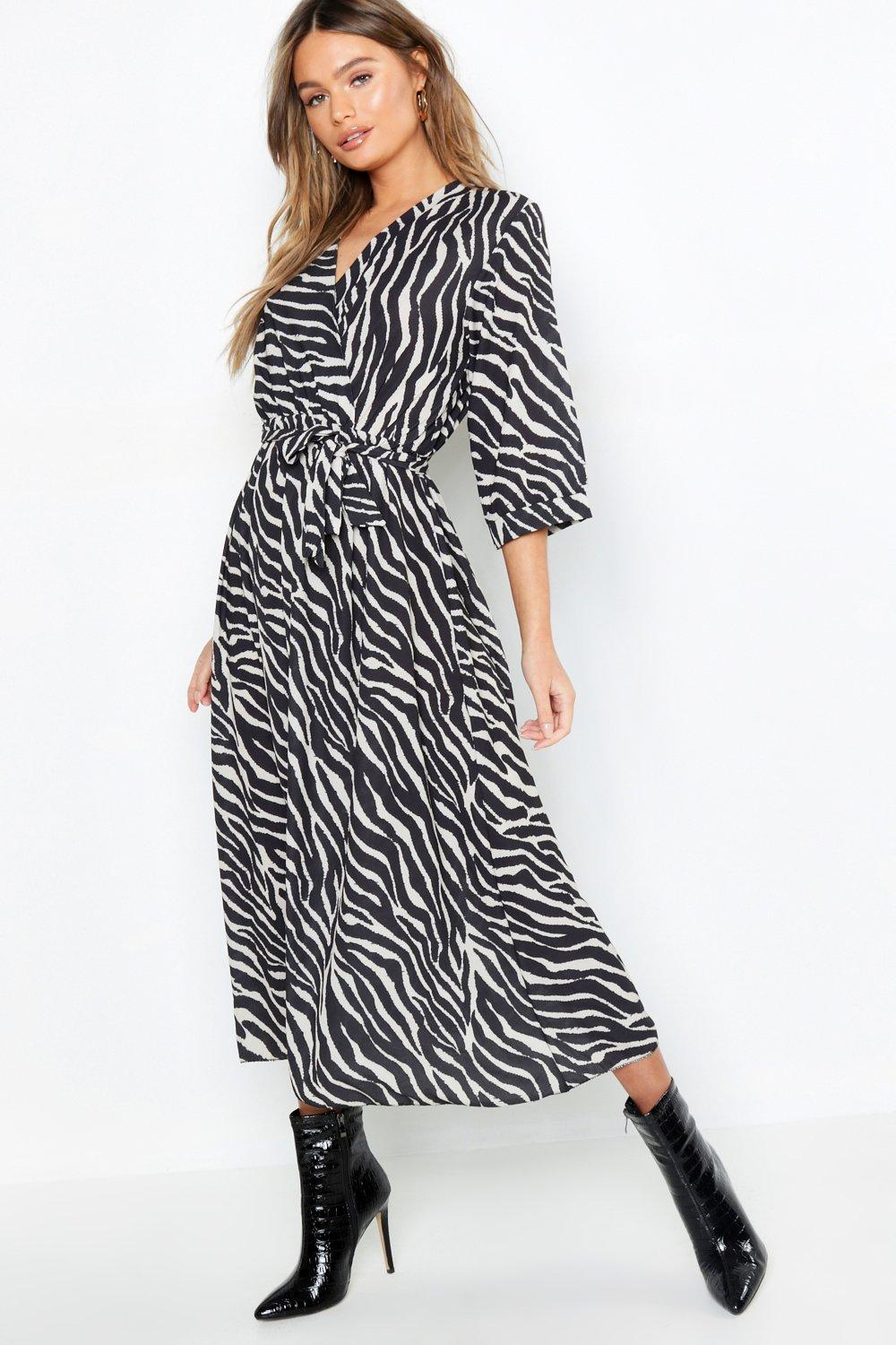 e6effc4b8340 Lyst - Boohoo Zebra Wrap Front Belted Midi Dress in Black