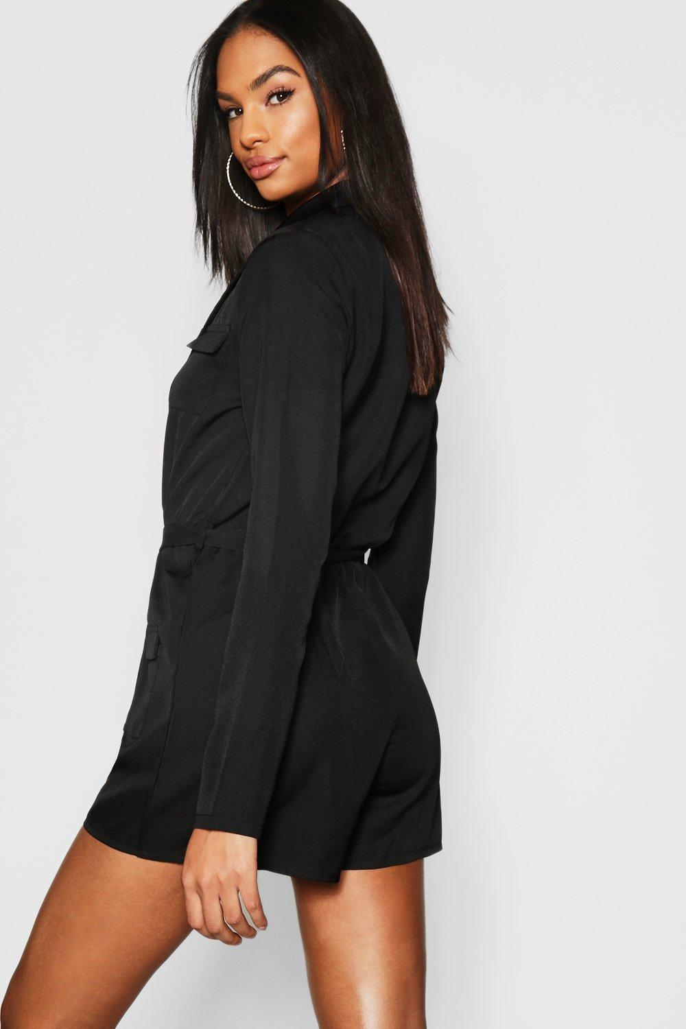 3d0ebfacd7 Boohoo - Black Tall Utility Style Belted Playsuit - Lyst. View fullscreen